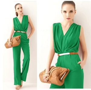 European-Elegant-OL-Fashion-Brand-Women-Jumpsuits-Sexy-Deep-V-neck-font-b-Green-b-font